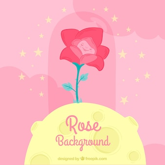 Schöner Hintergrund von Rose und Mond