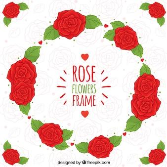 Schöner Rahmen aus roten Rosen
