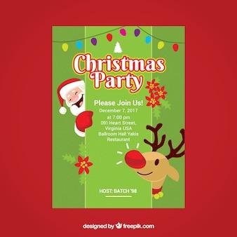 Schönes Plakat der Weihnachtsfeier mit Weihnachtsmann und Ren