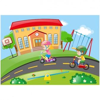 Kind fahrrad vektoren fotos und psd dateien kostenloser for Schule design