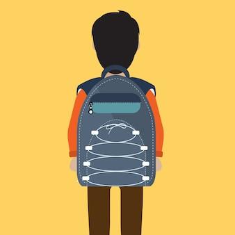 Schuljunge mit Beutelpackung