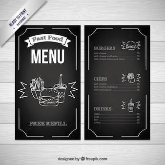 Schwarz Fast Food Menü-Schablone