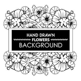 Schwarz-Weiß-Hand gezeichnet Floral Frame