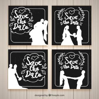Schwarz-Weiß-Hochzeitseinladungsschablonen