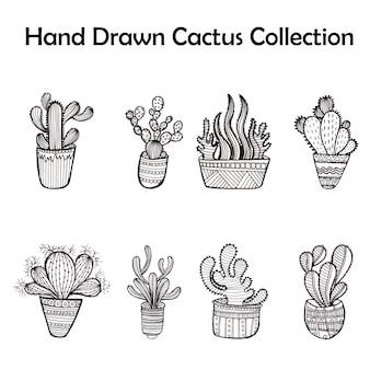 Schwarz-Weiß-Kaktus-Kollektion