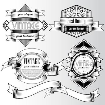 Schwarz-Weiß-Logo mit Bändern