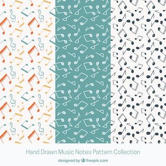 Schwarz-Weiß-Musik Noten Muster Hintergrund