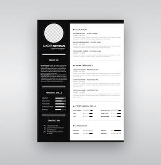 Schwarz-Weiß-Resume-Vorlage