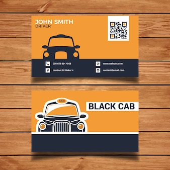 Schwarze Taxi-Visitenkarte