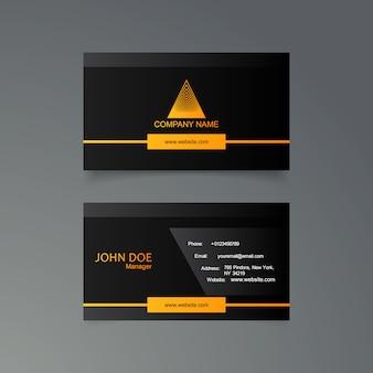 Schwarze und gelbe Visitenkarteschablone