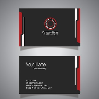 Schwarze und rote Visitenkarte