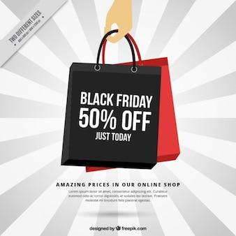 Schwarzer Freitag Hintergrund der Einkaufstaschen