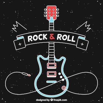 Schwarzer Hintergrund mit E-Gitarre in flachem Design