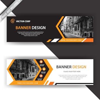 Schwarzes und orange Banner