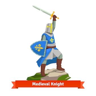 Schwerer gepanzerter französischer mittelalterlicher Ritter