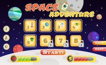Scifi Raum Abenteuer Spiel Benutzeroberfläche Vorlage Vektor-Illustration