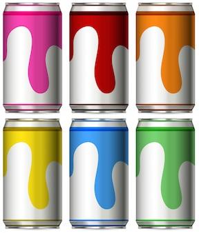 Sechs Dosen mit verschiedenen Farben