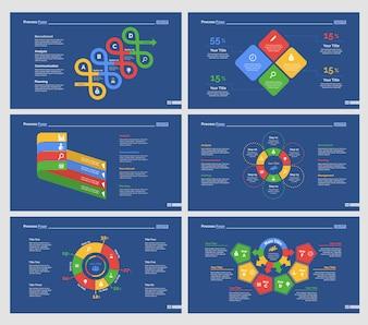 Sechs Finanzdiagramme Slide Templates Set