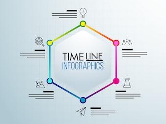Sechs Schritte, Timeline Infografics Layout mit Icons Set, in schwarz und weiß und bunte Versionen.