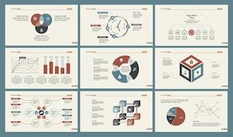 Sechs Statistik Folienvorlagen gesetzt