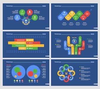 Sechs Strategie Slide Vorlagen Set