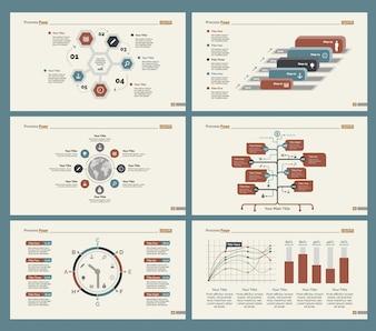 Sechs Workflow-Diagramme Folienvorlagen setzen
