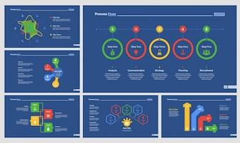 Sechs Workflow-Präsentationsvorlagen gesetzt
