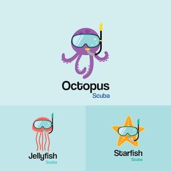 Seeleben Tier Scuba Logo Vorlage. Octopus, Quallen, Seestern mit Tauchermaske im flachen Design für Tauch- und Schnorchelausrüstungsshop, Tauchschule.
