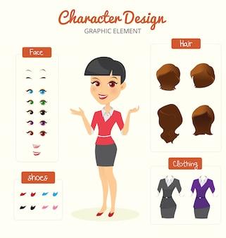 Sekretär Charakter Schöpfung gesetzt. Selbstbewusste Geschäftsfrau. Cartoon-Flat-Art-Infografik-Illustration