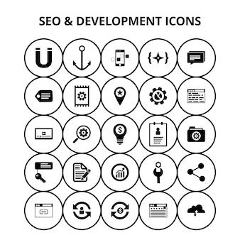 Seo und Entwicklung Symbole