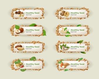 Set Banner mit verschiedenen Arten von Nüssen.