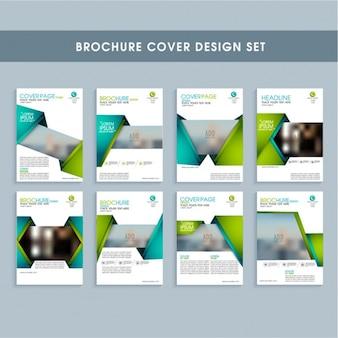Set Geschäfts Faltblätter mit blauen und grünen Formen