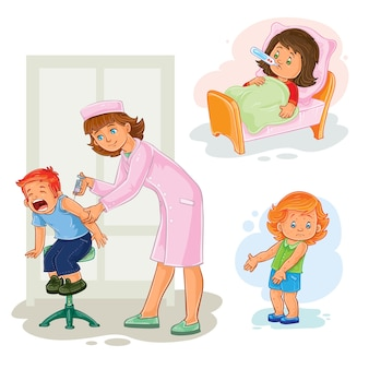 Set Ikonen kleines Mädchen krank