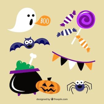 Set Kessel mit dekorativen Halloween-Elementen