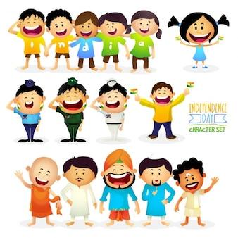 Set lächelnd Zeichen für die indische Unabhängigkeit Tag
