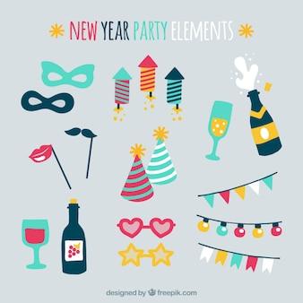 Set mit bunten Party-Elemente für neues Jahr