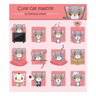 Set nette Katze Maskottchen