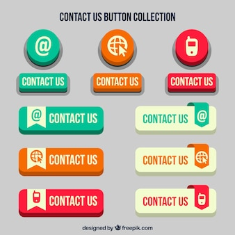 Set Retro- Kontakt Web-Buttons