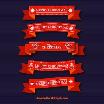 Set rote Weihnachtsbänder im flachen Design