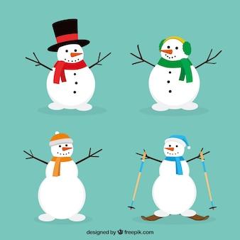 Set Schneemänner mit Zubehör