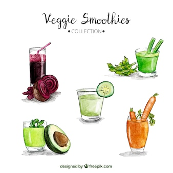 Set vegetarische Wassermelone Smoothies