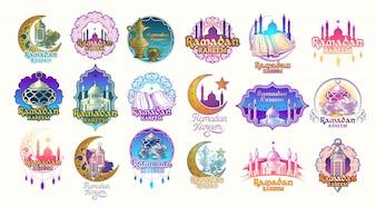 Set Vektor Farbe Illustrationen, Abzeichen, Embleme für Ramadan Kareem.