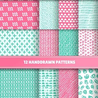 Set von 12 handgemalten geometrischen Mustern