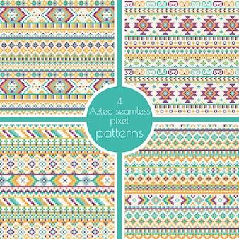 Set von 4 geometrischen Stammes-aztec Pixel nahtlose Muster. Retro Vektor Kreuzstich Stickerei Hintergrund. Abstraktes Design. Ethnische Hipster Kulisse.