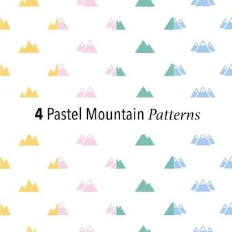 Set von 4 Pastell Berg Muster Hintergrund