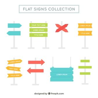 Set von Adressenplakaten im flachen Design