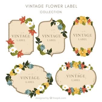 Set von Blumen-Aufkleber in Vintage-Stil