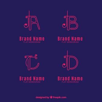 Set von Buchstaben Logos in linearen Stil