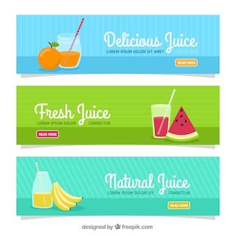 Set von drei Bannern mit Fruchtsäften