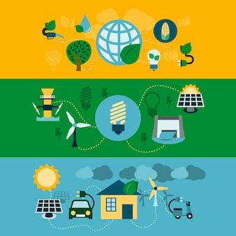 Set von drei Fahnen mit erneuerbaren Energien
